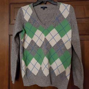 Gap Argyle V-Neck Sweater sz Small Petite